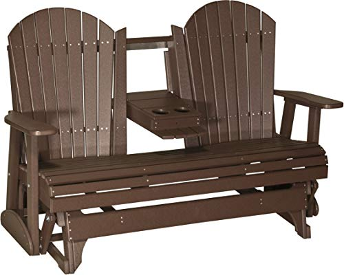 LuxCraft Recycled Plastic 5' Adirondack Glider Chair with Flip Down Center Console