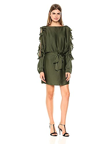- Wild Meadow Women's Bubble Satin Ruffle Sleeve Dress L Dark Green