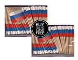 2 Boxes Mini Russia Toothpick Flags, BOGO Buy 1 Box of 100 and Get Another Box Free, Total 200 Small Mini Russian Flag Cupcake Toothpicks or Tiny Cocktail Sticks & Picks