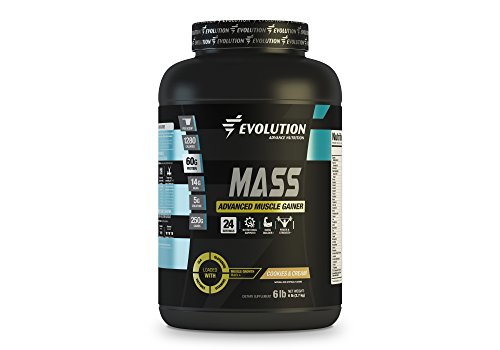 Muscle Gainer Protein Mass Advanced by Evolution Advance. 60Grams of Protein, 250Grams of Carbs, 14Grams of BCAA, 5Grams of Creatine+Glutamine+CLA+Enzyme Blend+Vitamins. (6 pounds, Cookies and Cream)