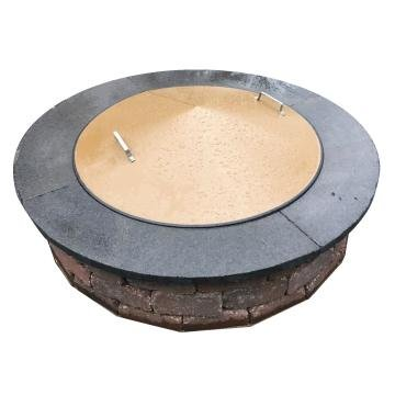 39'' Round Metal Steel Wood-Gas Fire Pit Campfire Ring Spark Cover. by Higley Fire Pit Covers