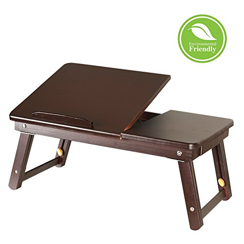 Eclife 100% Bamboo Laptop Bed Tray Table Adjustable Leg Laptop Desk  Foldable Breakfast Serving Bed