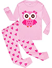Girls Pajamas 100% Cotton Cat Toddler Pjs Clothes Sleepwear