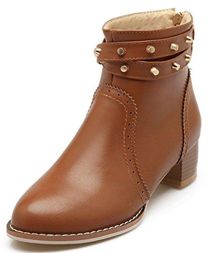 IDIFU Womens Elegant Studded Mid Heels Chunky Back Zipper Boots Short Ankle Booties Brown