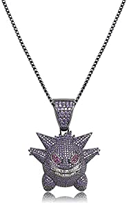 Moca Jewelry Unisex Exquisite Bubble Gengar Pendant Hip Hop Iced Out Rhinestone Crystal Necklace 18K Gold Plat