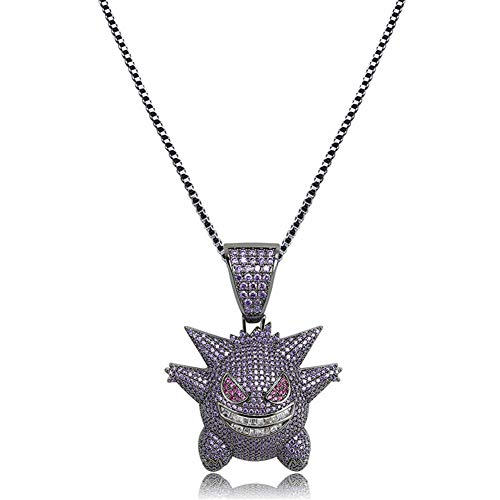 "(Moca Jewelry Unisex Exquisite Bubble Gengar Pendant Hip Hop Iced Out Rhinestone Crystal Necklace 18K Gold Plated with 24"" Stainless Rope Chain for Men Women (Purple))"