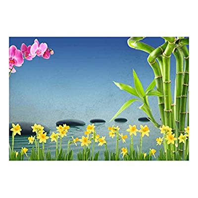 Pink Orchid and Yellow Daffodil Flowers on a Blue Textured Background Wall Mural, Created By a Professional Artist, Delightful Portrait