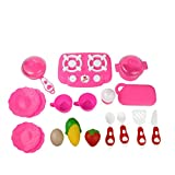 Winkey 18PC Cutting Fruit Vegetable Pretend Play Children Kid Educational Toy Pink,Simulated Kitchen Tableware, Toys For 1 2 3 4 5 6 7 8 9+ Years Old Baby Boy Girls
