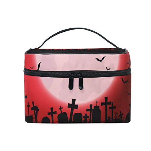 Jojogood Halloween Background With Evil Eyes Large Cosmetic Bag Travel Makeup Toiletry Organizer Case for Women Girls ()