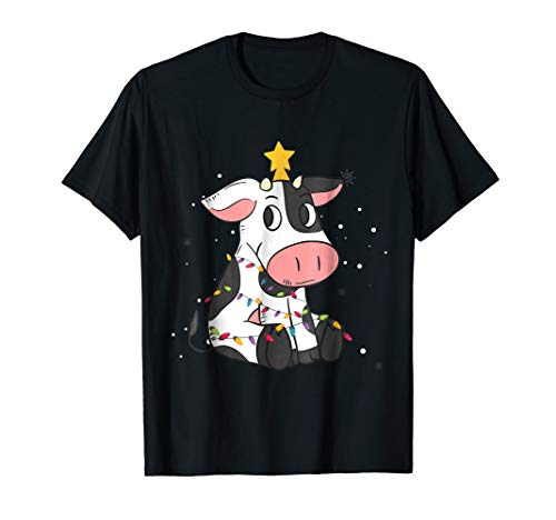(Funny Cow Christmas Tree Lights Gifts Lovers T)