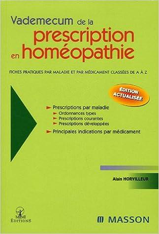 Lire en ligne Vademecum de la prescription en homéopathie epub pdf