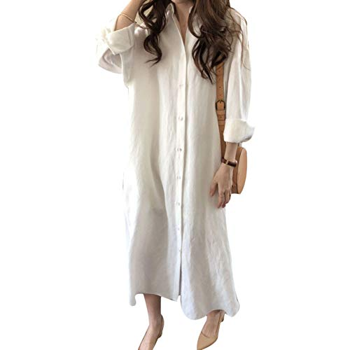 (soAR9opeoF Solid Color Women Button Down Long Sleeve Cotton Linen Loose Shirt Maxi Dress White S)