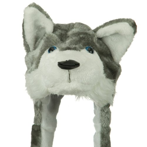 [Plush Faux Fur Animal Critter Hat Cap - Soft Warm Winter Headwear - Short with Ear Poms and Flaps & Long with Scarf and Mittens available (Wolf Grey -] (Wolf Head Hat)