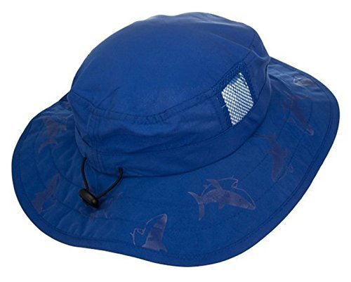 Sun Protection Zone Kids UPF 50+ Safari Sun Hat, Blue Sharks, Uv Sun Protective, Lightweight, Velcro Straps (Bucket Hat Wholesale)