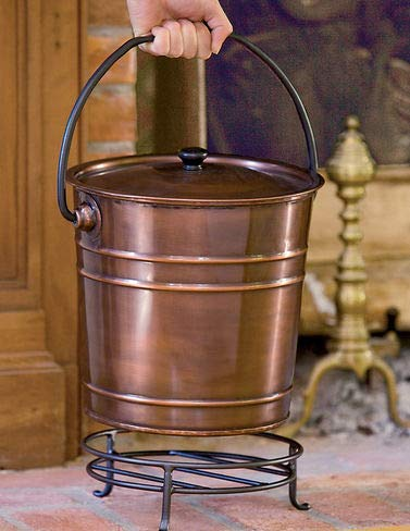 (Gardener's Supply Company Steel Copper Finish Fireplace Ash Bucket With Floor Protection Stand)