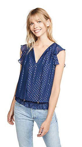 Ramy Brook Women's Cecily Blouse, Spring Navy, Blue, Metallic, Print, XX-Small ()