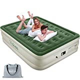 Veken Queen Air Mattress with Built-in Pump, Inflatable 18' Elevated Airbed with Flocked Top, Best Air Mattress for Guests, Family, 2-Year Guarantee