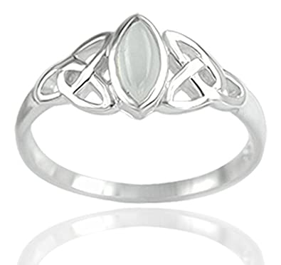 DTPSilver - 925 Sterling Silver and Moonstone Celtic Trinity Ring guM2Do0Mu