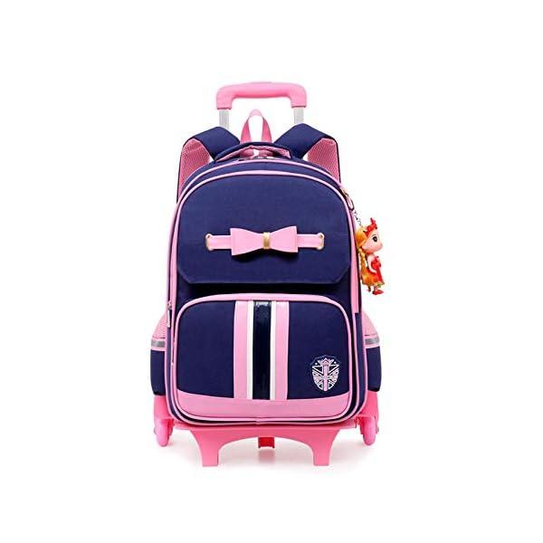 Borsa da scuola trolley per bambini in stile britannico Borse da scuola Bow Roller perzaini da viaggio zainoper ragazzeadolescenti-6weel_blue 1 spesavip