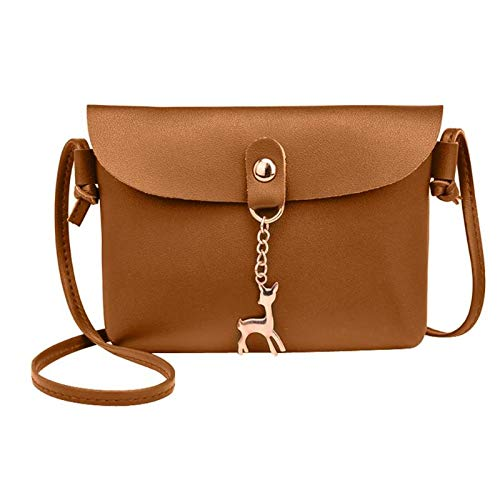 ed72d2040d HITSAN INCORPORATION Simple PU Leather Women Messenger Bags Deer Pendant Pure  Sling Shoulder Bag Lady Handbags Color Light Brown Size  Amazon.in  Shoes    ...