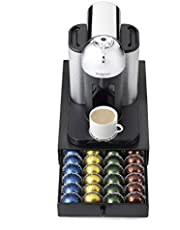 Nifty Vertuoline Rolling Coffee Pod Drawer – Satin Black Finish, 40 Pod Capsule Holder, Compact Under Coffee Pot Storage, Office or Home Kitchen Counter Organizer