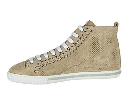 Zapatos De Mujer Prada High Top Zapatillas De Deporte De Ante Beige Beige