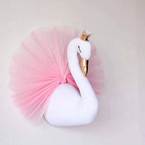 3D Wall Hanging Decoration Cute Crown Swan Stuffed Dolls 40X54cm Kids Room Decor Weddings Birthday - Swan Wall