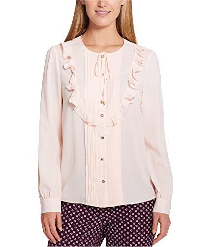 (Tommy Hilfiger Womens Sheer Bib-Front Blouse Pink XL)