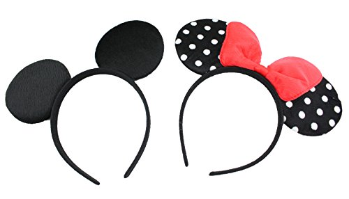 FINEX Mickey Minnie Mouse Costume Deluxe Fabric Ears Polka Dot Headband Set of 2 (Mickey+Minnie) ()