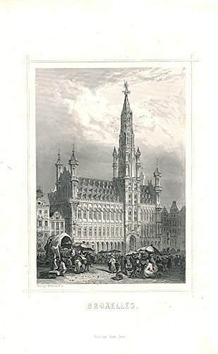St. Michael's Cathedral Brussels Belgium 1847 nice old antique print