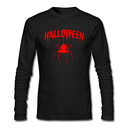 Mens Halloween Happy Halloween 2017 Spider Cotton Athletic Long-Sleeve Tee (Daily Planet Happy Halloween)