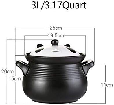 Pot en Argile résistant à la Chaleur avec Couvercle Casserole Saine antiadhésive, Pot en Terre coréenne, Plat de cocotte en céramique Ronde à Motif de Dessin animé A 3.17 Quart