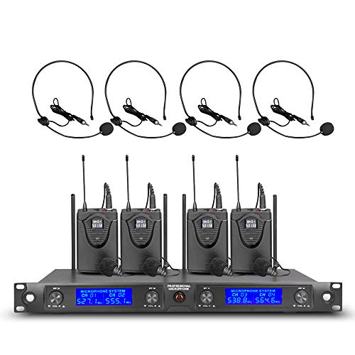 Pro UHF Wireless Microphone System 4 Channel 4 Headset& Lavalier Lapel Mic 4 Bodypacks Whole Metal Dynamic Mics with New FCC Frequency for Conference Speech Karaoke Party Wedding Church
