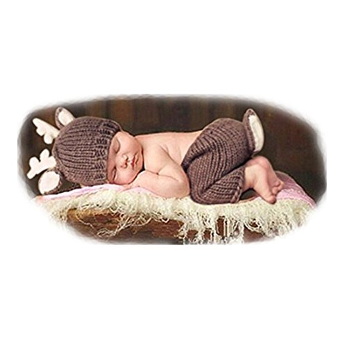 Coberllus Newborn Monthly Baby Photo Props Outfits Christmas Deer Hat Pants for Boy Girls Photography Shoot