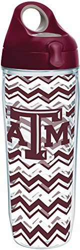 Aggies Water A&m Texas (Tervis 1232418 Texas A&M Aggies Clear Chevron Insulated Tumbler with Wrap and Maroon Lid, 24oz Water Bottle)