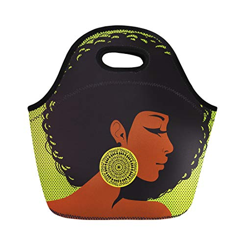Semtomn Lunch Bags Brown Afro Profile Silhouette African American Woman Hair Neoprene Lunch Bag Lunchbox Tote Bag Portable Picnic Bag Cooler Bag