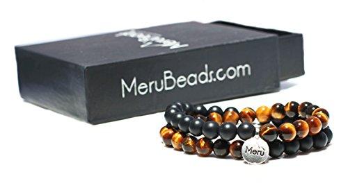 X-Large Tiger's Eye Yellow & Matte Onyx Wrap Bracelet for Men - Tigers Eye Yellow Bracelet - Onyx Bracelet for Men - Tigers Eye Wrap Bracelet by MeruBeads (Image #3)
