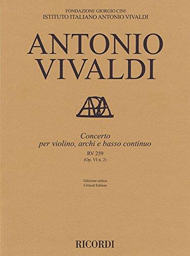Download Concerto for Violin, Strings and Basso Continuo - RV 259 Op. 6 No. 2: Critical Edition Score ebook