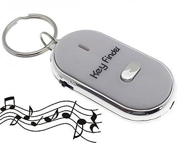 LED Taschenlampe Schlüssel Key Finder Anhänger Pfeifen Schwarz Schlüsselfinder