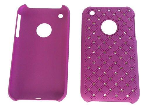 Zirkonia, Kunststoffhülle, Hülle für Apple iPhone 3, 3G, 3GS Lila, Hardcase, Strass Glitzer, Schimmernde Steine Glamour