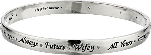 Betsey Johnson Women's Blue by Betsey Johnson S Bangle with Delicate Accents and Sayings including, 'Always', 'Future', 'Wifey' and 'Forever' Crystal One (Betsey Johnson Silver Bracelet)