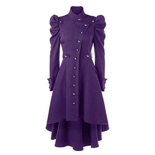 (CharMma Women's Vintage Puff Shoulder Single Breasted Dip Hem Trench Coat (Purple, XL))
