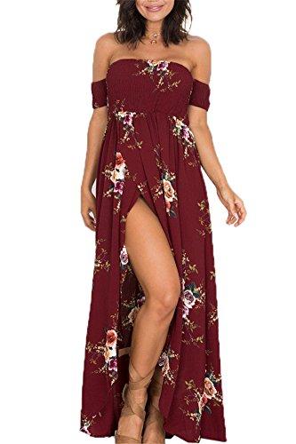 Flora Vestito Abito di Donna Estivo di Spacco Rosso Tropical Vestito o Fiori partito Spalline a alta Casuale Vita Vestito Maxi di Elastico Senza sera Tn6tWn
