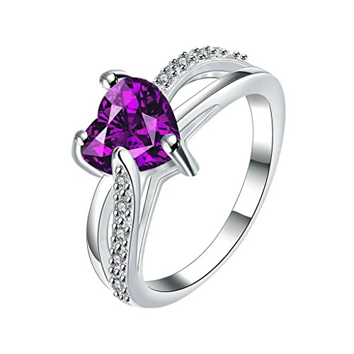 Bishilin Women's Jewelry 18K White Gold Plated Rings For Girls Heart Shape Purple Silver CZ Size 8
