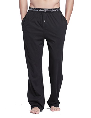 CYZ Men's 100% Cotton Jersey Knit Pajama Sleep/Lounge Pants-Black-M