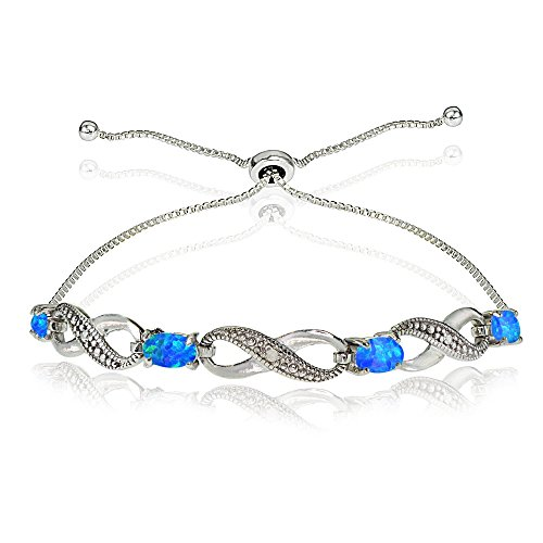 - Sterling Silver Created Blue Opal Figure 8 Infinity Adjustable Bolo Bracelet