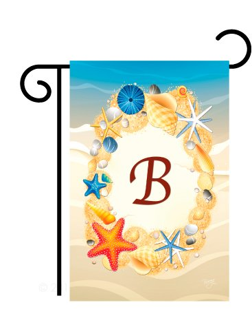 Breeze Decor BN-G-130158-IP Summer B Initial Decorative Vertical Garden Flag, 13