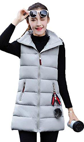 スクラブ個人資格情報AIJUAN レディース ベスト ロング丈 ダウンコート フード付き 綿入れ 厚手 冬服 カジュアル 袖なしのチョッキ 通勤 スリム 大きいサイズ 可愛い 防寒 防風 無地 アウター 軽量 ファッション