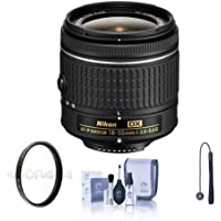 Nikon AF-P DX NIKKOR 18-55mm f/3.5-5.6G Zoom Lens - U.S.A. Warranty - Bundle with 55mm UV Filter, Cleaning Kit, Lens Cap Leash