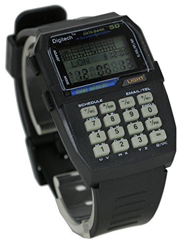 Vintage Retro Black 50 Memory data Bank Illuminator Digital Multifunction Sport Smart Watch (Watch Vintage Calculator)